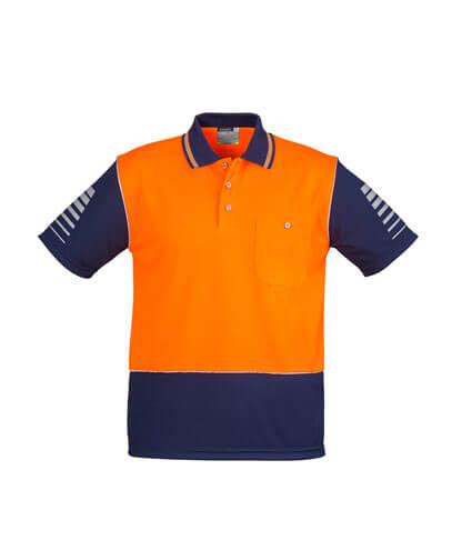ZH236 Mens Hi Viz Zone Polo - Orange/Navy