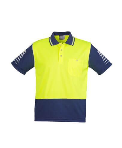 ZH236 Mens Hi Viz Zone Polo - Yellow/Navy