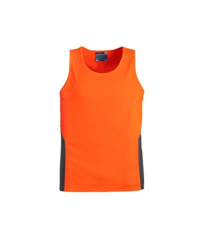 ZH239 Adults Hi Viz Squad Singlet - Orange/Charcoal