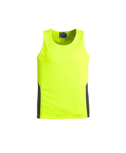 ZH239 Adults Hi Viz Squad Singlet - Yellow/Charcoal