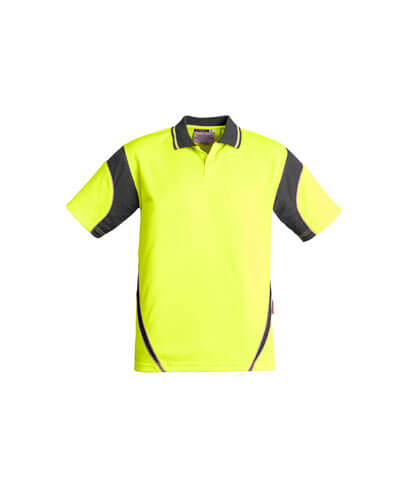 ZH248 Adults Hi Viz Aztec Polo - Yellow/Charcoal