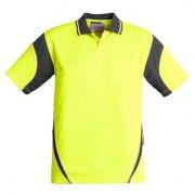 ZH248 Adults Hi Viz Aztec Polo - Yellow/Charcoal
