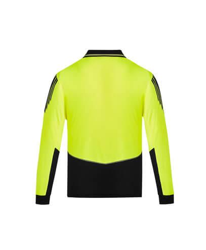 ZH310 Hi Viz Flux Long Sleeve Polo Shirt - Back