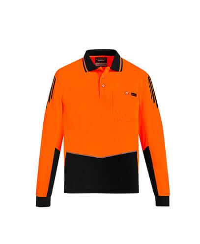 ZH310 Hi Viz Flux Long Sleeve Polo Shirt - Orange/Black