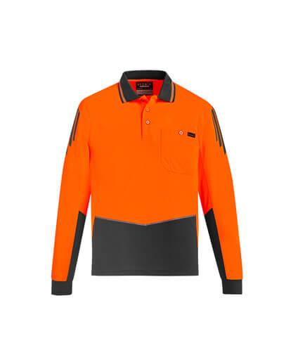 ZH310 Hi Viz Flux Long Sleeve Polo Shirt - Orange/Charcoal