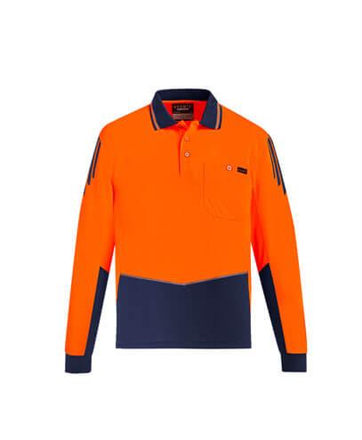 ZH310 Hi Viz Flux Long Sleeve Polo Shirt - Orange/Navy