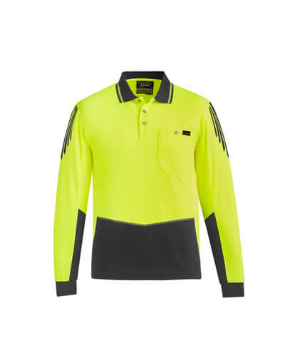 ZH310 Hi Viz Flux Long Sleeve Polo Shirt - Yellow/Charcoal