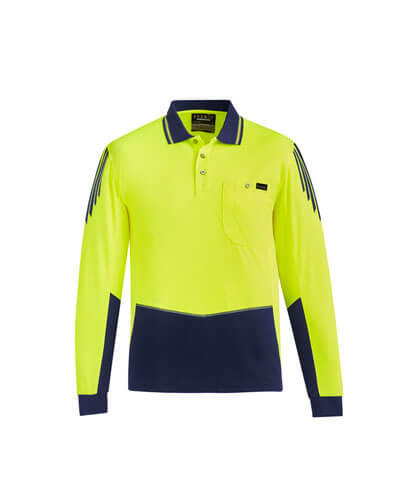 ZH310 Hi Viz Flux Long Sleeve Polo Shirt - Yellow/Navy