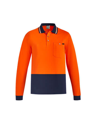 ZH430 Adults Hi Viz Cotton Long Sleeve Polo - Orange/Navy