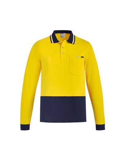 ZH430 Adults Hi Viz Cotton Long Sleeve Polo - Yellow/Navy