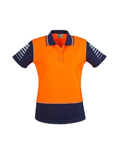 ZHL236 Womens Hi Viz Zone Polo - Orange/Navy