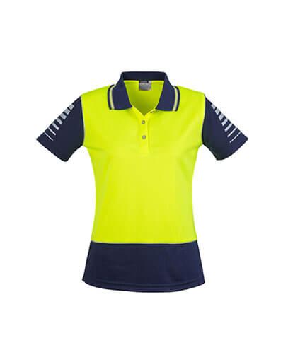 ZHL236 Womens Hi Viz Zone Polo - Yellow/Navy