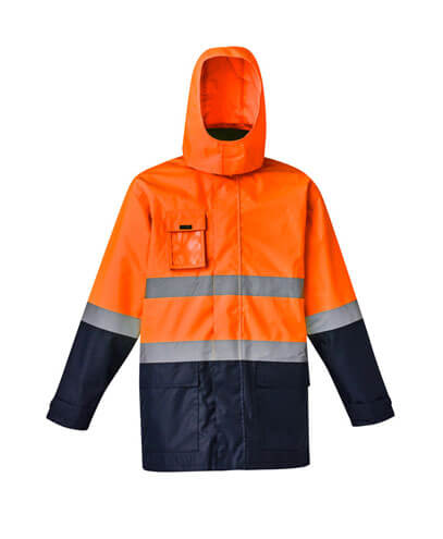 ZJ220 Adults Hi Viz Basic 4 in 1 Waterproof Jacket - Orange/Navy