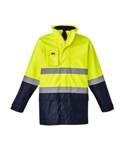 ZJ220 Adults Hi Viz Basic 4 in 1 Waterproof Jacket - Yellow/Navy with Hood Down