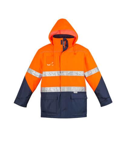 ZJ350 Adults Hi Viz Storm Jacket - Hood Out