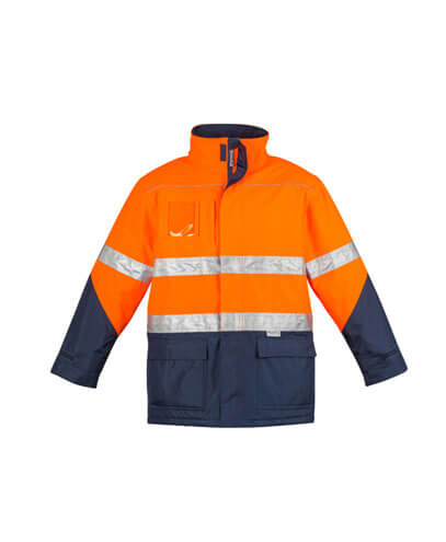 ZJ350 Adults Hi Viz Storm Jacket - Orange/Navy