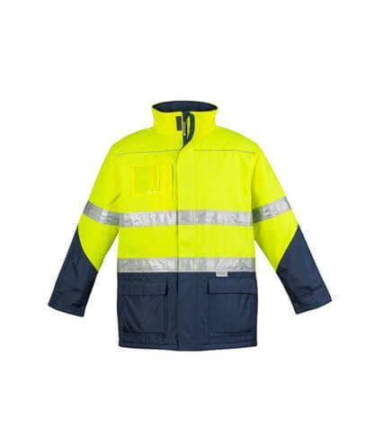 ZJ350 Adults Hi Viz Storm Jacket - Yellow/Navy