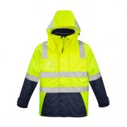ZJ530 Adults Hi Viz 4 in 1 Waterproof Jacket - Yellow/Navy