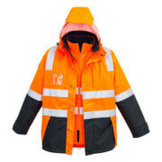 ZJ532 Adults Hi Viz 4 in 1 Waterproof Jacket - Orange/Navy