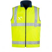 ZV358 Adults Hi Vis Lightweight Fleece Lined Vest - Yellow/Navy