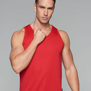 1107 Mens Botany Singlet - Red - Worn by Male Model