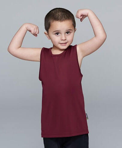 3107 Kids Botany Singlet - Maroon - Worn by Boy Model