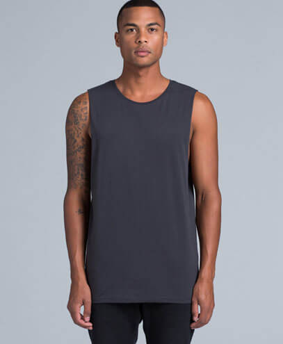 5025 Unisex Barnard Tank Tee - Worn by Male Model