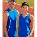 SG407M Mens and SG407L Womens Razor Singlet - Royal/White - Worn by Male and Female Models