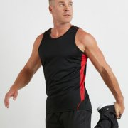 MPS Adults Matchpace Singlet - Navy/Red - Worn by Male Model