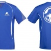 Example of custom printed quick-dry t-shirts for the 2016 Auckland Marathon, shown in blue with white dinosaur-themed logos on front and back.
