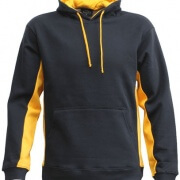 MPH Contrast Hoodie in Black with Gold panels, drawstring and hood lining.