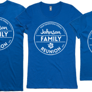 Example of men's, women's and children's Family Reunion Tees, shown in blue with white text and imagery printed on front.