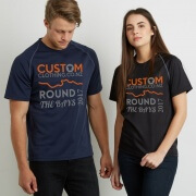 Male and female models in custom printed Round The Bays 2017 navy and black quick-dry t-shirts, with orange and grey text and logo on front.