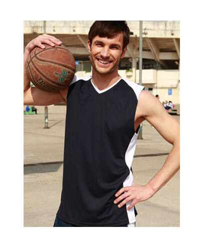 CT1205 Adults Basketball Singlet - Navy/White - Worn by Male Model