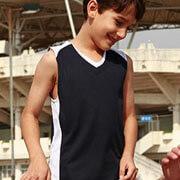 CT1206 Kids Basketball Singlet - Navy/White - Worn by Boy Model