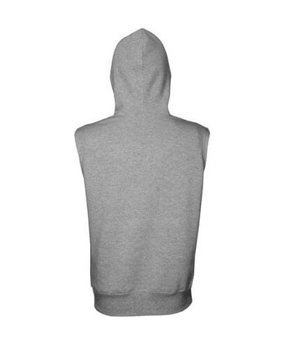 SLH Sleeveless Pullover Hoodie - Grey Marle Back View