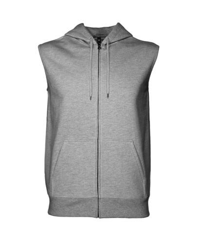 SMZ Sleeveless Zip Hood - Grey Marle