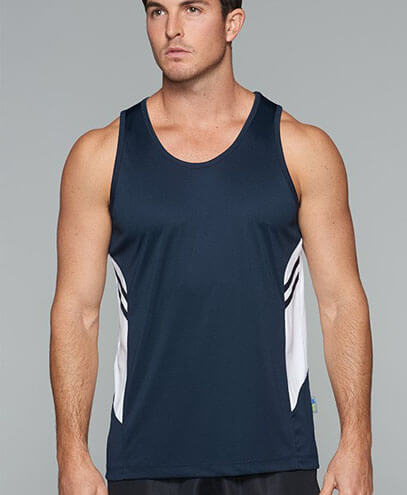 1111 Mens Tasman Singlet - Navy/White - Worn by Male Model