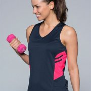 2111 Womens Tasman Singlet - Navy/Neon Pink - Worn by Female Model