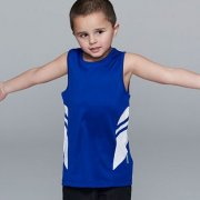 3111 Kids Tasman Singlet - Royal/White - Worn by Boy Model
