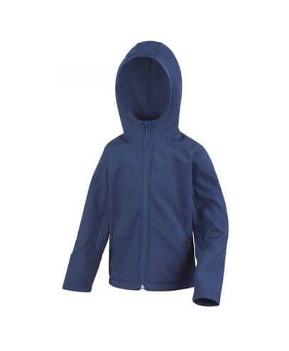 R244B Kids TX Performance Hooded Softshell Jacket - Navy