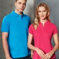 P2100 P2125 Mens & Womens Neon Polo - Cyan on Male Model, Magenta on Female Model