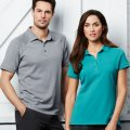 P706MS P706LS Mens & Womens Profile Polo - Silver on Male Model, Teal on Female Model