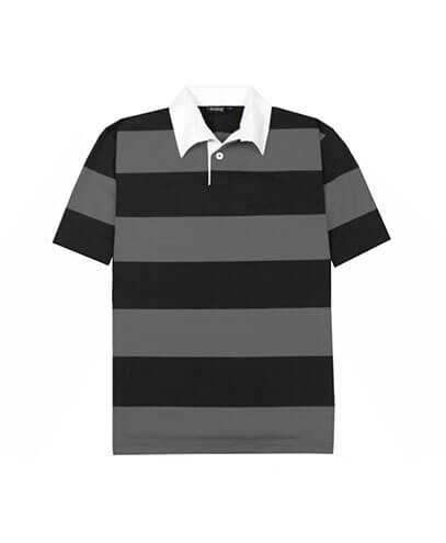 SS-RJS Short Sleeved Striped Rugby Jersey - Charcoal/Black