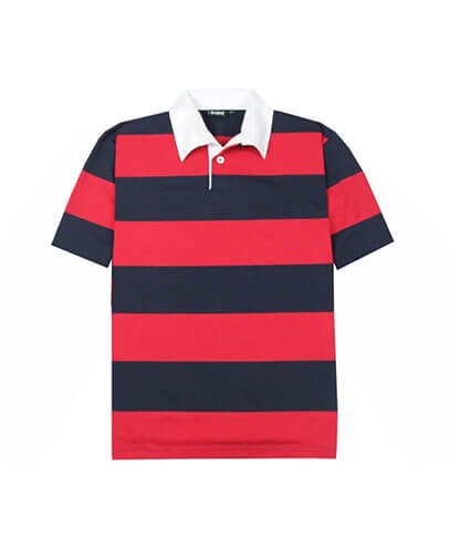 SS-RJS Short Sleeved Striped Rugby Jersey - Navy/Red