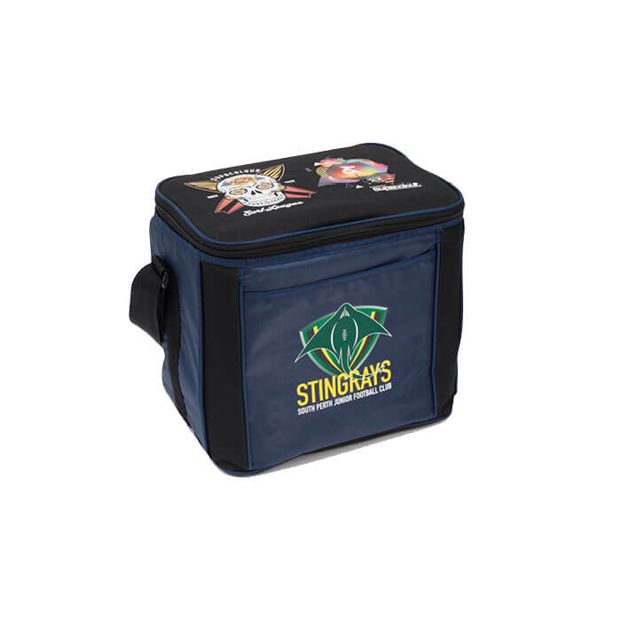 Supacolour printed navy and black cooler bag, with multi-coloured sports team and sponsor logos on front and top of bag.