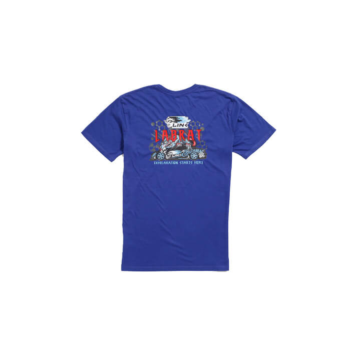 Supacolour printed royal blue t-shirt, with red and white text, and white, black and blue cartoon car artwork on front.