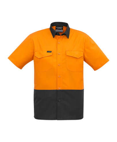 ZW815 Adults Hi Viz Spliced Shirt - Orange/Charcoal