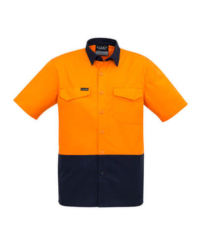 ZW815 Adults Hi Viz Spliced Shirt - Orange/Navy