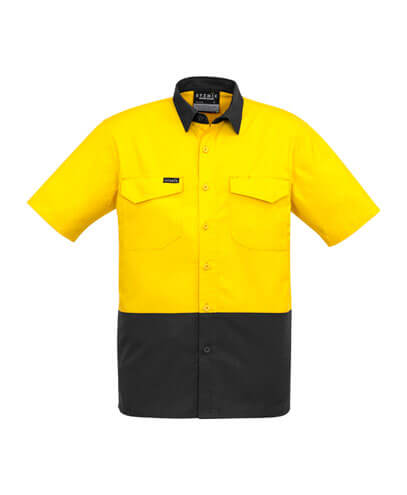 ZW815 Adults Hi Viz Spliced Shirt - Yellow/Charcoal